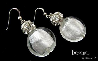 Orecchini con perle di vetro foglia d\'argento e Strass Swarovski ...