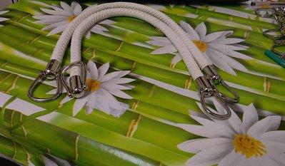 coppia di manci intreccio cm 55 con anello finale colore bianco