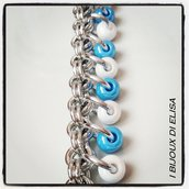 Bracciale chainmail azzurro e bianco