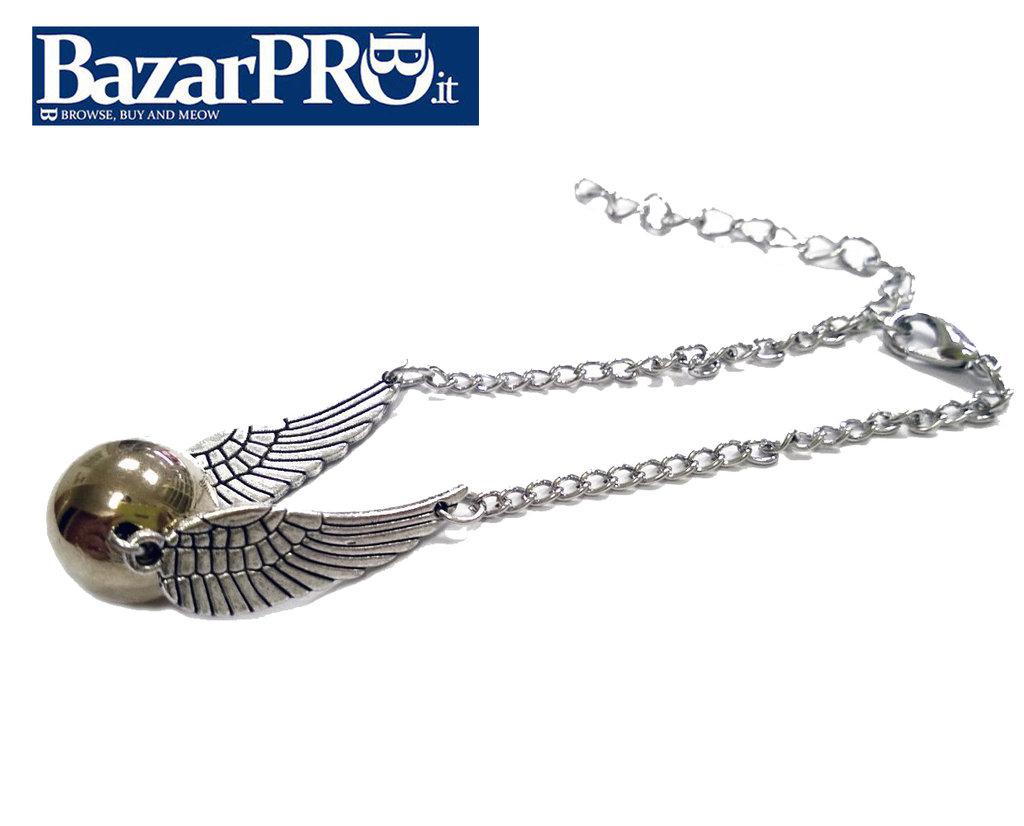 Collana Boccino d'Oro Harry Potter versione ali di ARGENTO