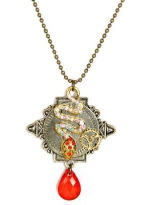 NOVITA'!!!Collana con serpente e strass,ingranaggio orologio modello  steampunk idea regalo