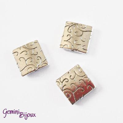 Perla tibetana in metallo, quadrata mm 14x14, SQ004