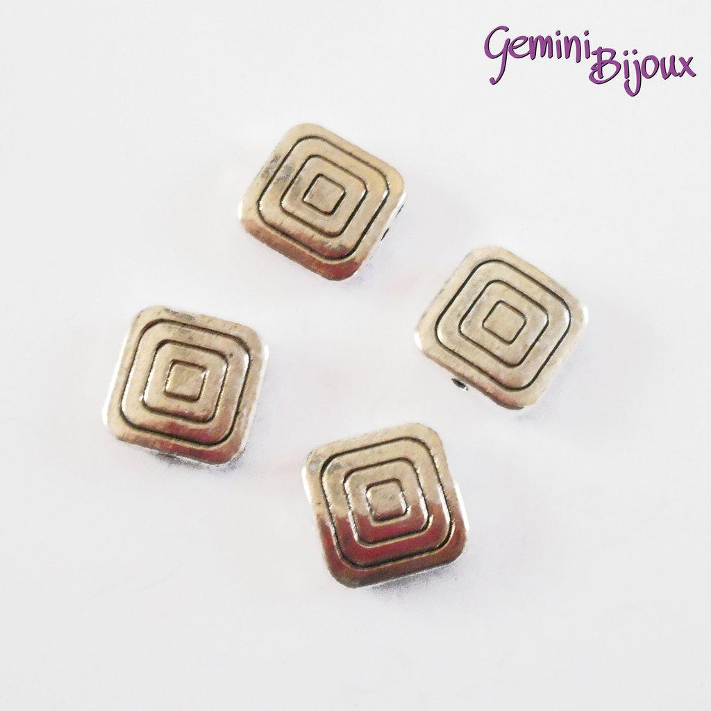 Perla tibetana in metallo, quadrata mm 12x12, SQ008