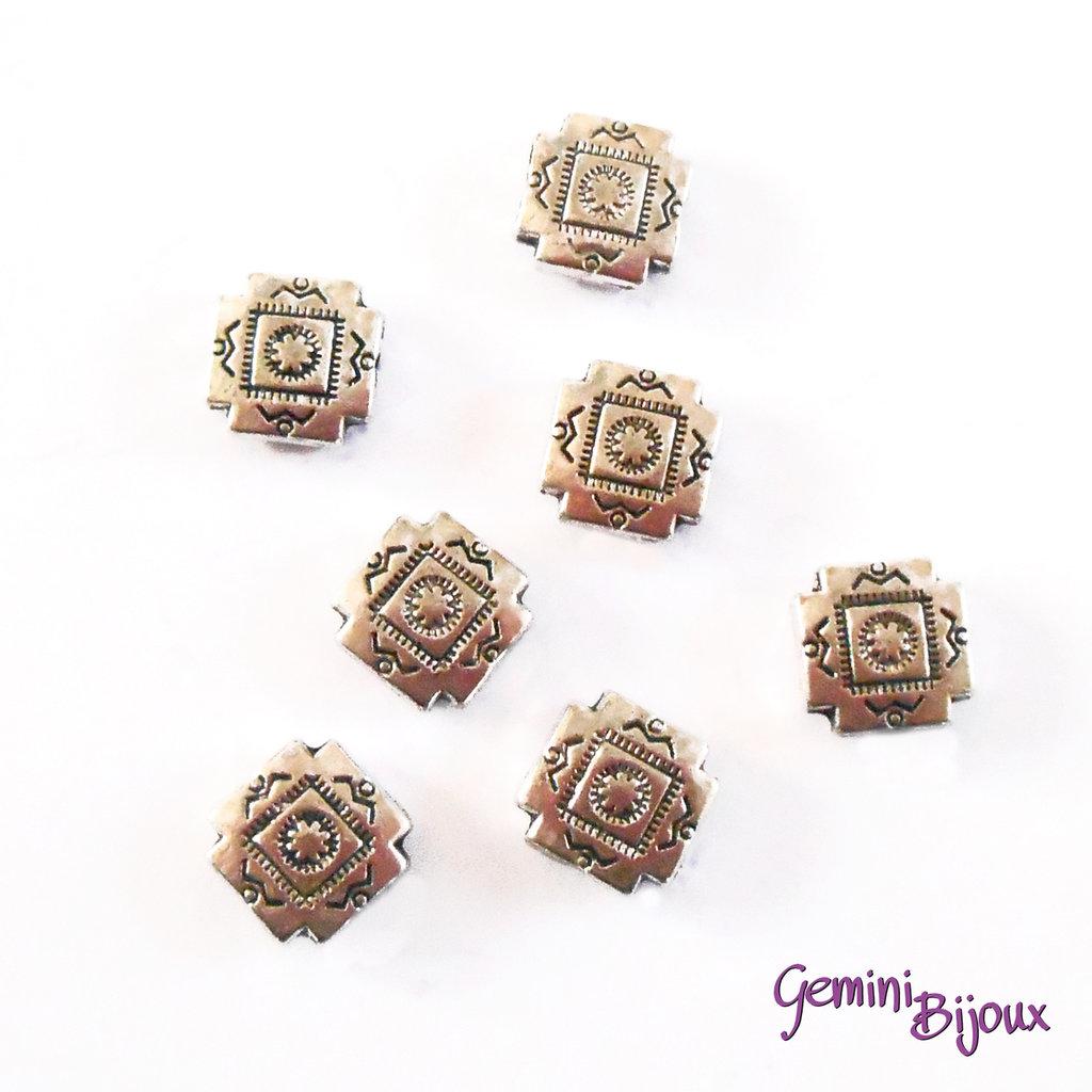 Perla tibetana in metallo, quadrata mm 9x9, SQ009