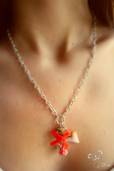 Collana ampolla con bastoncini di zucchero - Natale - handmade necklace