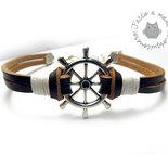 Bracciale nautico uomo in pelle e corda con Timone in metallo argento braccialetto marinaio