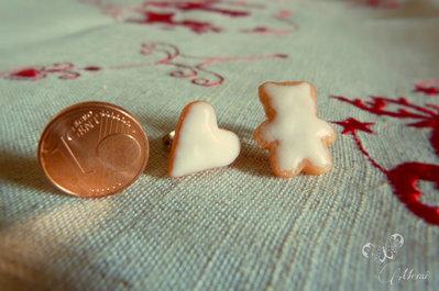 Orecchini a lobo miniature biscottini orso glassati