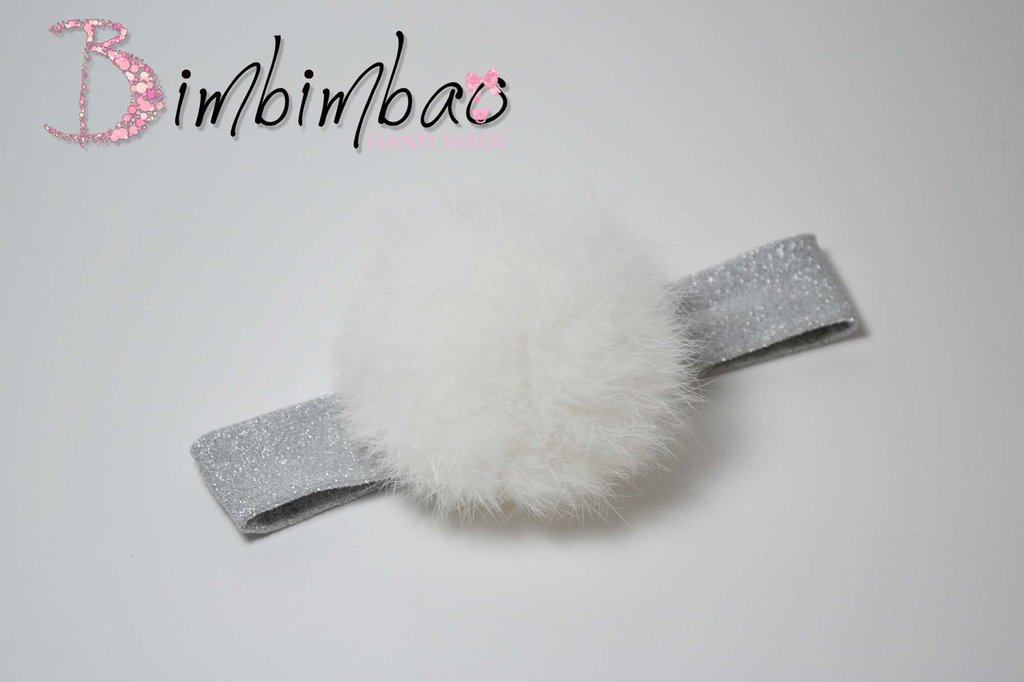 fascia capelli lurex con pin pin vera pelliccia di rabbit