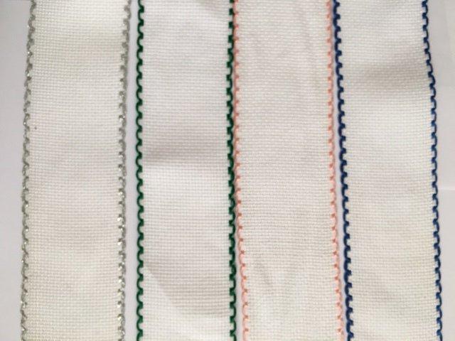 Bordino a Trama Aida Bianca h. 5 cm con cimosse colorate