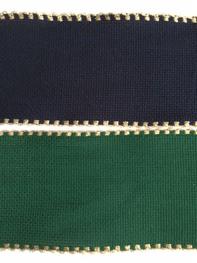 Bordino a Trama Aida Verde o Blu  h. 7 cm con cimosse oro metallizzato