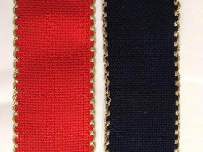 Bordino a Trama Aida Blu o Rossa h.5 cm con cimosse oro metallizzato