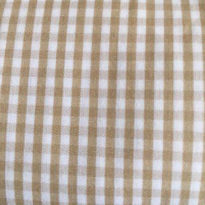 Taglio Tessuto Zephyr Cotone Quadrettini Bianco e Sabbia