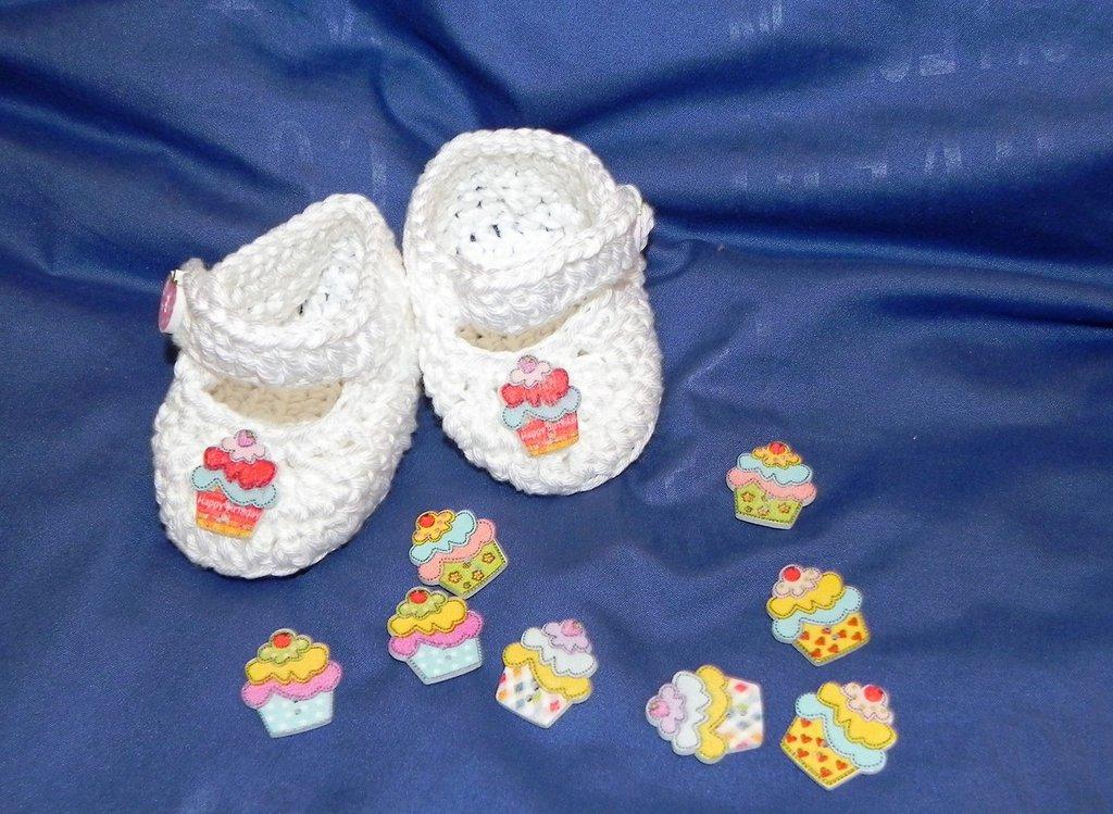 SCARPINE  cotone NEONATO uncinetto scarpette BABY CROCHET