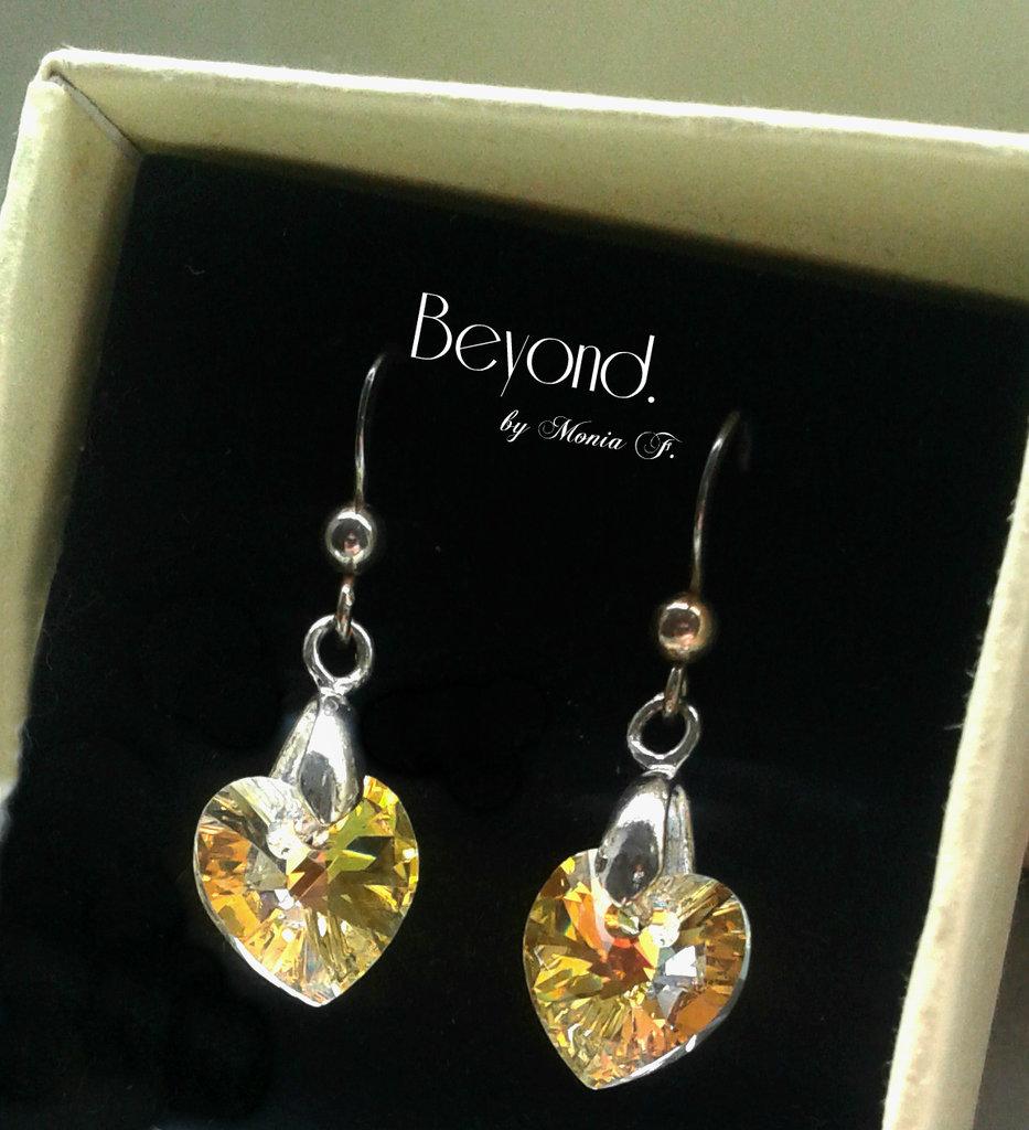 Orecchini pendenti con cuori in cristallo originale Swarovski
