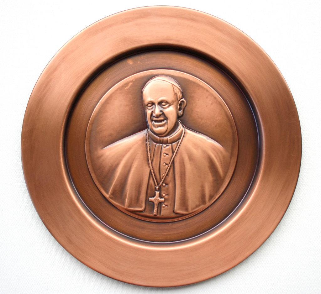 Piatto decorativo artigianale in rame - Papa Francesco - Bergoglio -