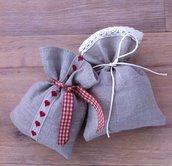 Sacchetti-Bomboniere matrimonio in lino e pizzo - Dimensione 12x10 cm - Varieta' di opzioni colore - Rustic chic-cuori-quadretti