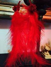 Orecchini piume rosso