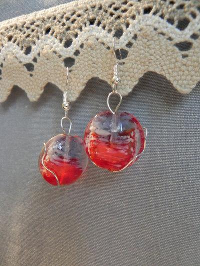 Orecchini vetro rosso e bianco