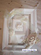 Quadretto legno bianco gufo fiori stoffa