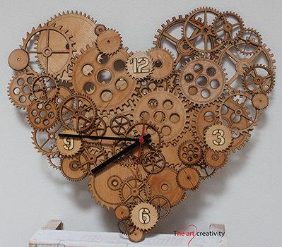 """Orologio """"Gli ingranaggi del cuore_natural"""""""