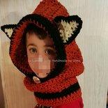 Cappuccio uncinetto con scaldacollo a forma di volpina per bambino o bambina