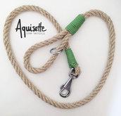 Guinzaglio in corda di canapa con dettagli verde