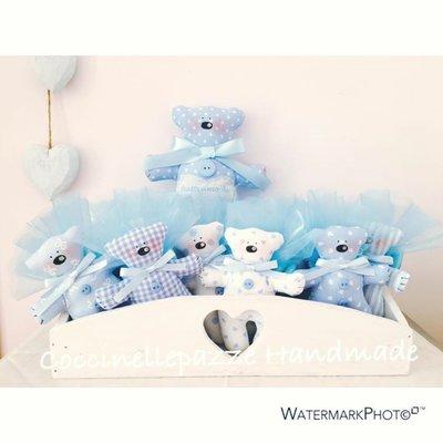 20 bomboniere orsetto Tilda by Coccinellepazze nascita o battesimo + orso grande personalizzato!!