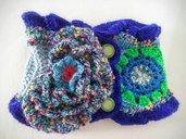 Scaldacollo fatto a mano con tecnica freeform crochet
