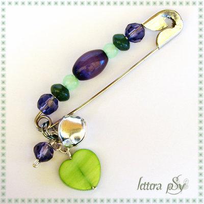 """""""Campanilla Verde & Viola"""" - accessorio spilla"""