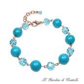 Bracciale in rame perle in pietra dura turchese e cristalli turchesi fatto a mano - Gladiolo