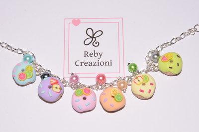 Bra005- Braccialetto ciambelline arcobaleno
