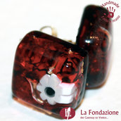 Cubo Fiore - Orecchini in vetro di Murano Fatto a mano