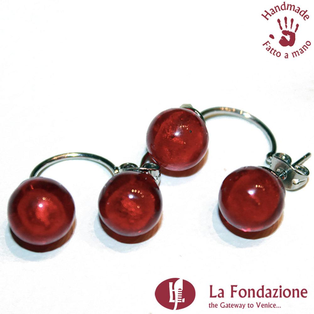 Orecchini Perla Doppia a lobo rossi in vetro di Murano fatto a mano