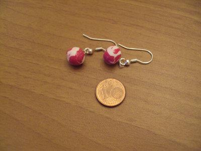 Orecchini palline rosso-bianco