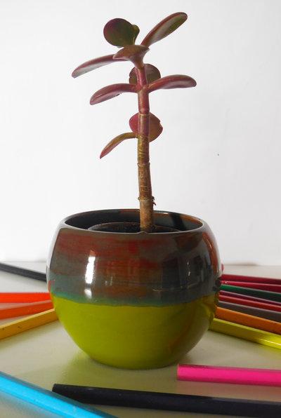 Vasetto multicolore in ceramica