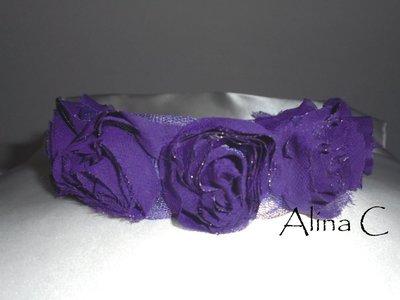 Viola, Cerchietto con rose in tessuto viola scuro, cerimonia,capelli,acconciatura
