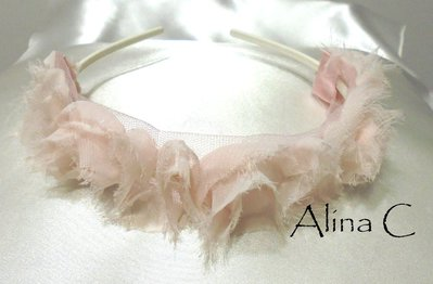 RoseRosa, Cerchietto per capelli con rose in tessuto rosa, cerimonia,acconciatura,donna,ragazza,bimba