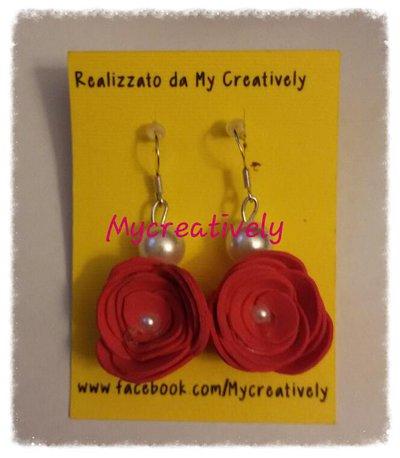 Orecchini rosa rossa