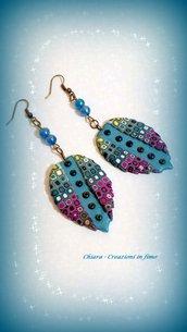 Orecchini in fimo eleganti con murrine handmade multicolore idee regalo donna