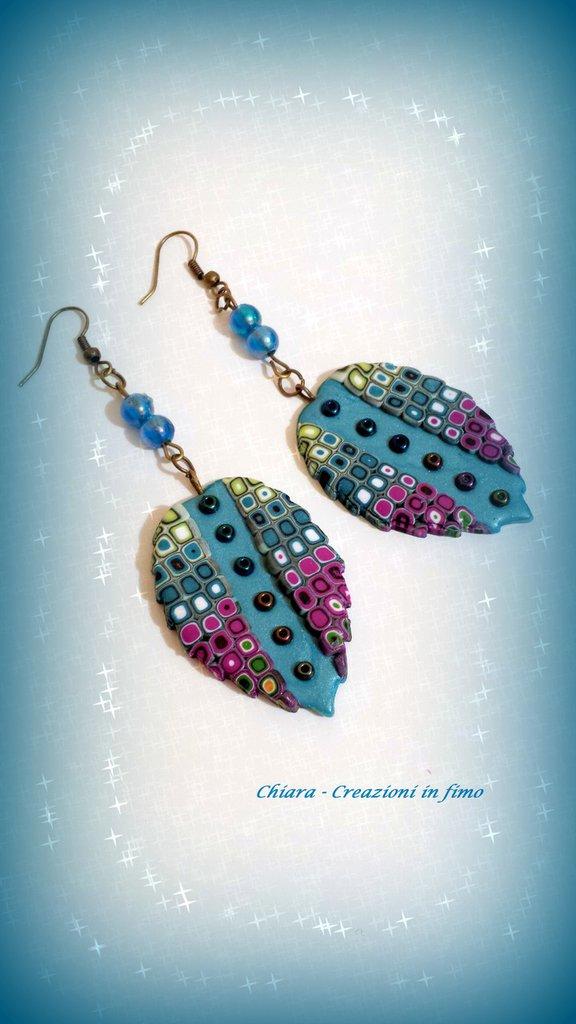 Orecchini In Fimo Eleganti Con Murrine Handmade Multicolore Idee Re