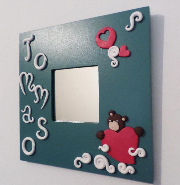 Orsacchiotto con cuore sulle nuvole-cornice (disponibile solo NERA o BIANCA) specchio personalizzabile con nome