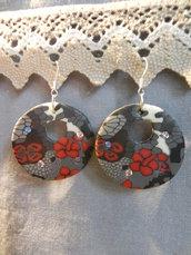 Orecchini in fimo fiori rossi