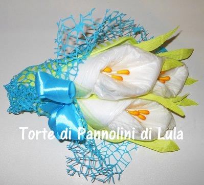 Torta di Pannolini Pampers Bouquet mazzo di Fiori + BAVAGLINO- idea regalo, originale ed utile, per nascite battesimi