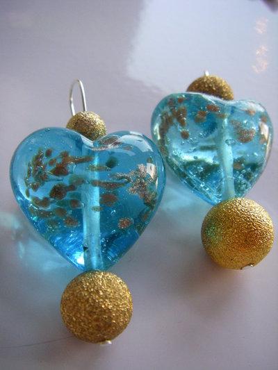 orecchini pendenti cuore azzurro oro