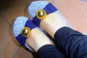 Ballerine grigio-blu con bottone gioiello