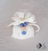 Bomboniera comunione rosario blu per bimbo confezionamento completo per Lui
