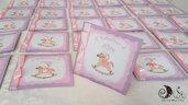 Card Invito Battesimo Cavallo a dondolo bimba lilla - invito con busta