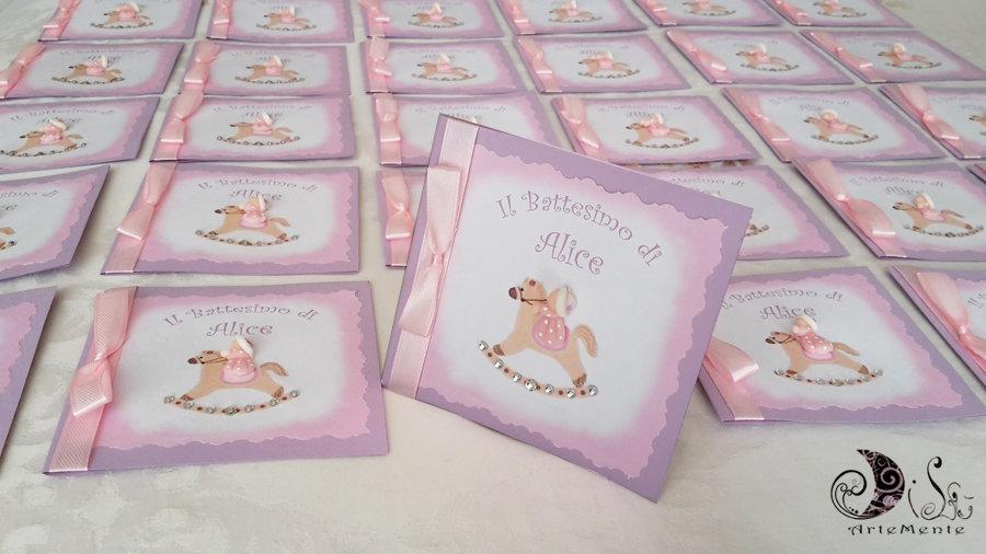 Super Card Invito Battesimo Cavallo a dondolo bimba lilla - invito con  XP79