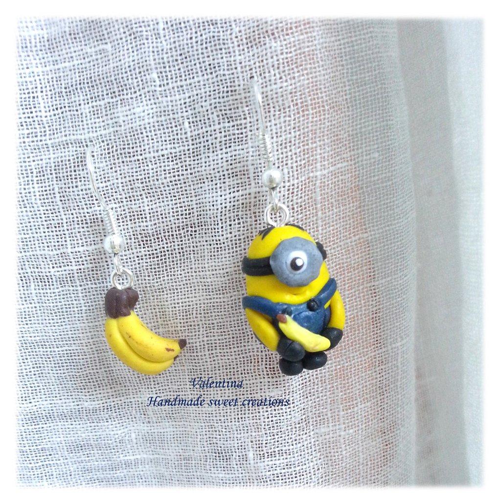 Orecchini minions e banane fimo