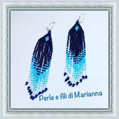 Orecchini di perline lunghi,boho,fatti a mano